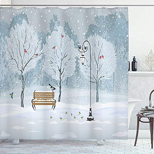 ASDAH Kerstmis Douche Gordijn Sneeuw Vallen in Het Park op een Koude Winter Dag Vogels Lantaarns Xmas Seizoen Foto Doek Stof Badkamer Decor Set met Haken Blauw Wit 66 * 72in