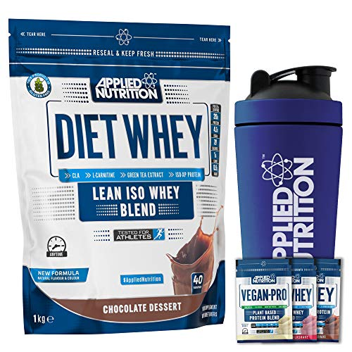 Applied Nutrition Bundle: Diet Whey Protein Powder Low Carb Low Sugar 1kg + 5 Sample Bundle + 750ml Steel Protein Shaker (Chocolate)