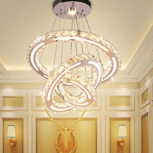 3 anillos LED modernos candelabros de cristal ajustables de acero inoxidable blanco luces colgantes para dormitorio, salón, pasillo, cocina, baño, bar, comedor (blanco cálido)