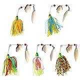 XINYIND 5 Piezas Señuelos de Pesca Jigs de Pesca Spinner Cebos Spinnerbait de Metal Multicolor Señuelos de Hundimiento para Lucio Perca Trucha