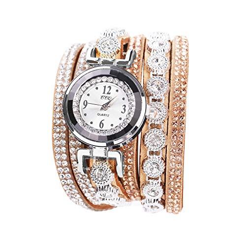 POLP Belleza Mujer Reloj de Pulsera de Cuarzo analógico con Esfera de Pulsera de Cristal Brillante Vintage Reloj Pulsera para Mujer Moda Mirar,Largo 40 cm