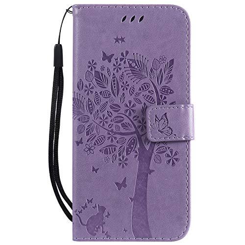 Hülle für Huawei P30 Lite/nova 4e Hülle Handyhülle [Standfunktion] [Kartenfach] [Magnetverschluss] Schutzhülle lederhülle klapphülle für Huawei P30Lite - DEKT021160 Lila