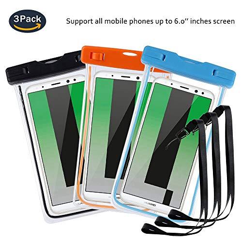 pinlu® 3 Pack IPX8 wasserdichte Tasche, für Smartphones bis 6 Zoll, für Wiko Cink Peax 2, Wiko Sunny, Wiko Cink Peax, Wiko Sunset -Schwarz+Blau+Orange