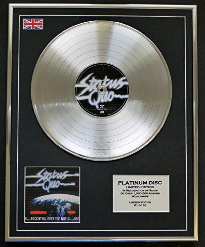 Everythingcollectible STATUS QUO/Limitierte Edition Platin Schallplatte/ROCKIN' ALL OVER THE WORLD