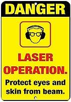 185グレートティンサインアルミニウム警告レーザー手術。目と皮膚をビームから保護します。屋外および屋内サイン壁装飾12x8インチ