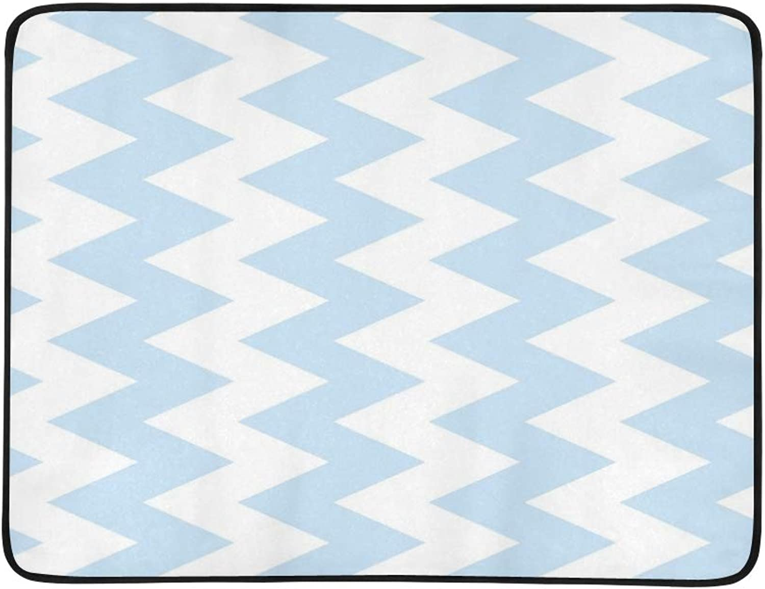 blueee Chevron Zigzag Portable and Foldable Blanket Mat 60x78 Inch Handy Mat for Camping Picnic Beach Indoor Outdoor Travel