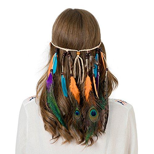 AWAYTR Damen Hippie Boho Indianer Stirnband Feder Stirnbänder für Abendkleider Halloween Karneval, Pfau und Lila Fasan Feder Stirnband, Einheitsgröße