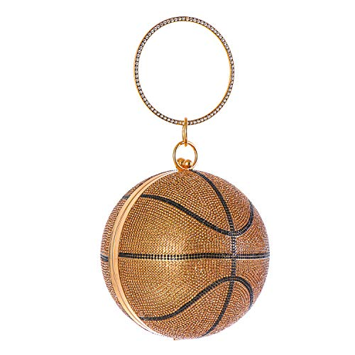 Rhinestone Basketball Clutch Bags, Round Evening Purse Glitter,Wedding Wristlets Handbag, 6.36.36.3