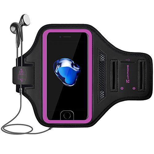 LOVPHONE iPhone 7/8 Plus Armband Sport Running Exercise Gym Sportband Case for Apple iPhone 8 Plus/iPhone 7 Plus/iPhone 6 Plus/6s Plus, with Key Holder & Card Slot, Water Resistant (Rosy)