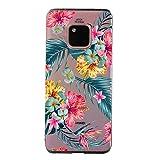 Ostop Coque pour Huawei Mate 20 Pro,Feuilles Vert Floral Rouge Impression Colorée Étui Caoutchouc...