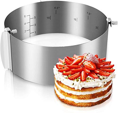 Gimars Anello Regolabile per Torta,Multi-Misure in 1 Anello Rotondo/Diametro Regolabile da 16-30cm/Ca.6.5Cm Altezza in Acciaio Inox-Versione Upgrade Stampo Circolare Multiuso per Torte Dolci