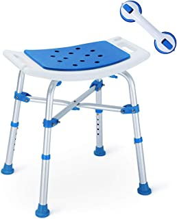 2019 Version! Upgraded Shower Stool, Bariatric Heavy Duty Bath Chair 500 lbs Cap. Transfer Bench w/EVA Paded Seat and Assist Grab Bar (White/Blue)