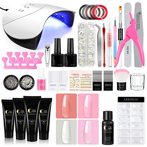 COSCELIA 4 PCS Gel Alargador Gel Extención 36 W Lámpara Secador UV/LED Base Coat Top Coat Herramientas para Manicura y Pedicura