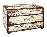 AVANTI TRENDSTORE - Home - Cassapanca in Similpelle Stampata in Stile Vintage, Dimensioni: Lap 65x42x40 cm