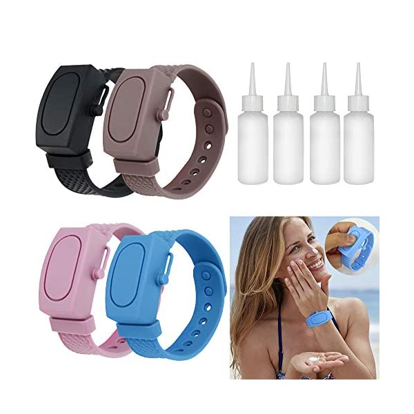 Excelloon Portable Wristband Hand Sanitizer Dispenser, 4Pcs Silicone Refillable Hand Sanitizer Bracelet, Liquid Wristband Hand Washing Dispenser for Travel (Adjustable Wristband)