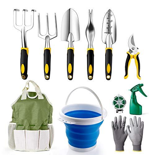 Amzdeal Garden Tool Set Gardening Tool Kits in Chrome-Plated Aluminum Alloy,Garden Accessories Tools Organizer Set Heavy Duty Gardening Work Set with Ergonomic Handle for Women/Men/Gardeners(11Pcs)