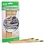 TICONDEROGA Envirostik Natural Wood Pencils, Wood-Cased #2 HB Soft, Natural, 12-Pack (96212)