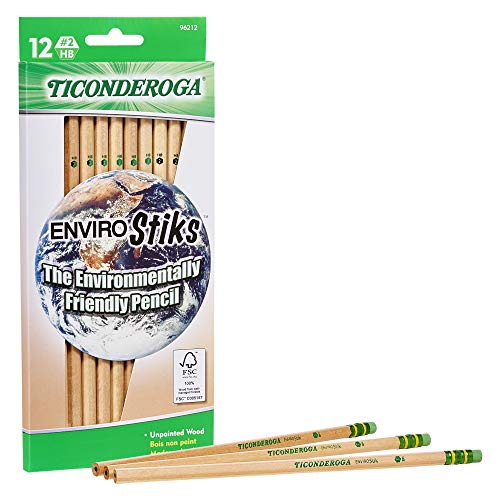 TICONDEROGA Envirostik Natural Wood Pencils, Wood-Cased #2 HB Soft, Natural, 12-Pack (96212), Woodgrain