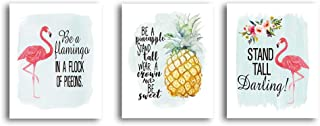 """HPNIUB Pink Flamingo&Pineapple with Quote Set of 3 (8""""X10"""" Art Prints Inspirational Saying Stand Tall Wall Poster Positive Canvas Painting for Fashion Women Girls Bedroom, No Frame"""
