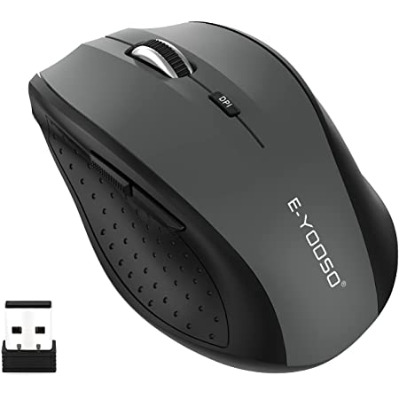 Wireless Mouse, E-YOOSO Computer Mouse 5 Adjustable DPI 6 Buttons Cordless Mouse Wireless Optical Mice with USB Nano Receiver, 2.4G Portable Ergonomic Wireless Mouse for Laptop/Windows/Mac/Office PC