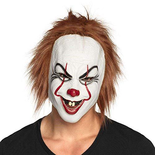 Boland 97579 - Mscara de payaso asesino de ltex con pelo, mscara terrorfica, Halloween, carnaval, fiesta temtica, disfraz
