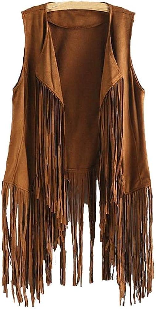 Fringe Vest for Women Autumn Winter Faux Suede Ethnic Cardigan Sleeveless Tassels 70S Vintage Vest Cardigans