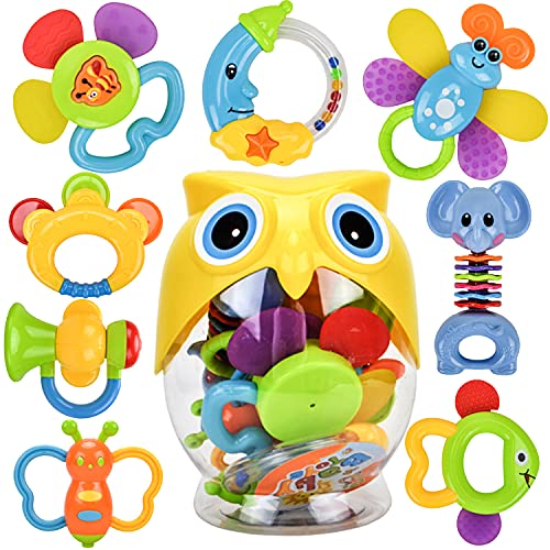 WISHTIME Baby Rassel Beißring Sets Spielzeug - Shaker und Spin Rassel Spielzeug Frühpädagogisches Spielzeug Geschenke Set für 3, 6, 9, 12 Monate Neugeborenes Baby, Junge, Mädchen