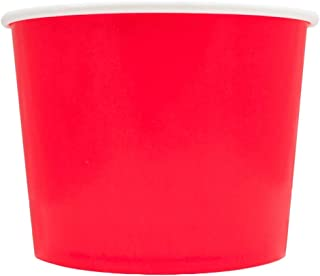 Valentine's Day Red Paper Ice Cream Cups - 16 oz Disposable Dessert Bowls - Comes in Many Colors - Frozen Dessert Supplies - 50 Count