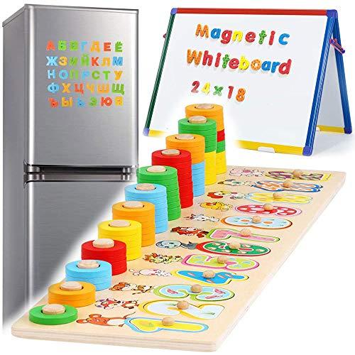 2 en 1 Numeros Madera Magnéticos de Madera para Niños Pequeños Juguete Educativo Magnéticos para Niños Pequeños, Alfabeto Grande Abc, Letra Mayúscula y Número, Tablero de Aprendizaje Montessori de Ma