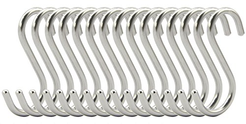 RuiLing 15-Pack 2.75 Inch S Shaped Hooks Heavy-Duty Genuine Solid Polished Stainless Steel Hanging Hooks,Kitchen Spoon Pot Hanging Hooks Hangers Clothes Storage Rack Multiple uses - Size Small