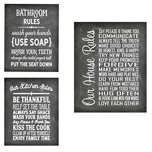 """Simplesmente notáveis regras de casa – bela impressão de pôster de qualidade de foto – Decore sua casa com essas belas estampas para cozinha, banho, sala de família, presente de boas-vindas feito nos EUA, 3 Pack 1 Chalk, 8"""" x 10"""""""