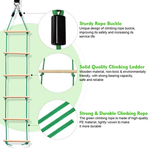 Wooden Rope Ladder Sports Rope Swing Climbing- Playground Hanging Ladder for Swing Set-Tree Ladder Toy for Children,Climbing Rope Ladder Exercise Equipment