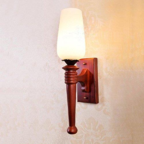 Xuan - worth having Wall lampe murale légère en bois et verre fait de couleur blanche torche en forme de lampe LED et incandescente E27 salon salle à manger cuisine étude chambre à coucher toilettes autres 48 * 18 * 10cm Éclairage Éclairage Intérieur Lampes Lampes de chevet et de table