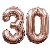 Meowoo 30 Ans Décoration Anniversaire, Fête Ballons 30 Ans Ballons Chiffre Ballons pour 30e Anniversaire de Mariage Fête d'anniversaire Décoration Hélium Ballons (30 Rose Or)