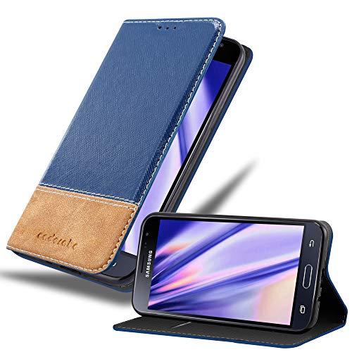 Cadorabo Hülle für Samsung Galaxy J3 / J3 DUOS 2016 in BLAU BRAUN – Handyhülle mit Magnetverschluss, Standfunktion & Kartenfach – Hülle Cover Schutzhülle Etui Tasche Book Klapp Style