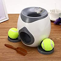 Creative Pet Dog Toys Interactive Automatic Ball Launcher Tennis Emission Throwing Toys Reward Machine Food Dispenser-Off-white