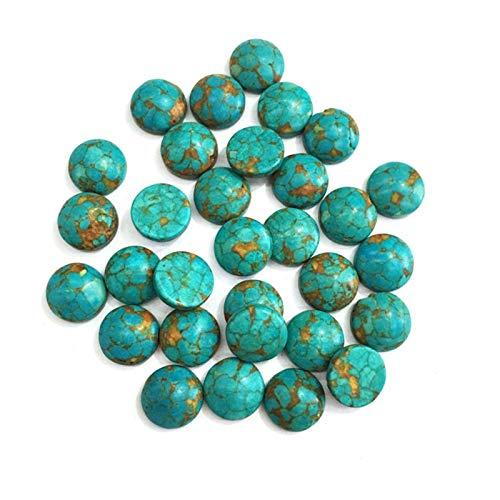 ABCBCA 20 PCS Piedras Naturales Azul Turquesa Jade Piedra cabujón Retro sin Agujero Perlas para Hacer joyería Accesorios de Anillo de Bricolaje (Color : 1, Size : 8mm)