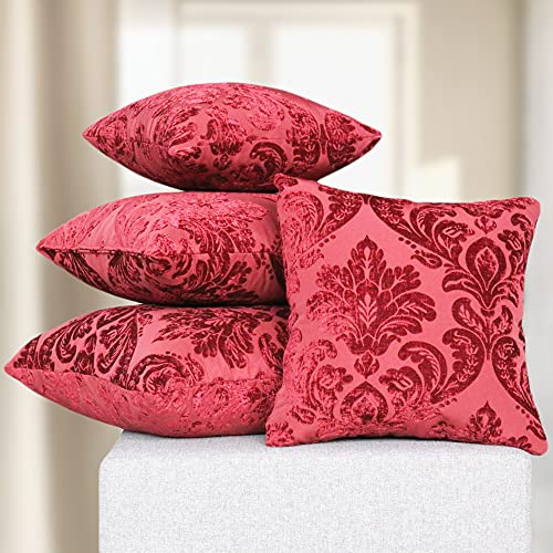 DESHOME Fleur - Cuscino singolo 50x50 cm per divano in ciniglia con imbottitura in gommapiuma, cuscino decorativo per arredo letto matrimoniale, divani, sfoderabile (Rosso bordeaux)