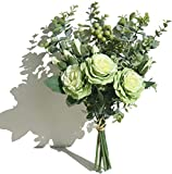 huaao Ramo de Rosas Artificiales con Tallos y Hojas de eucalipto para decoración de Bodas, Ramos de decoración de Interiores, Flores de Seda (Verde)
