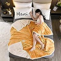 LXDWJ オフィスの子供のための暖かい柔らかいフランネルの毛布の航空機のソファーを投げる毛布の携帯用旅行ソリッドカラーブランケット寝具 (Size : 180x200cm 2.3kg)