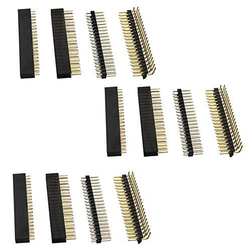 Moligh doll 12 StüCke 40 Poliges GPIO Header Kit 20 X 2 Polige Recht Winklige GPIO Header Buchse für Raspberry Pi Zero / 4B / 3B + / 3B / 3A +