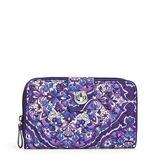 Vera Bradley Signature Cotton Turnlock Wallet with RFID Protection, Regal Rosette