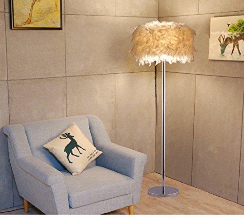 ELINKUME Lampadaire, Lampe de Plancher de Plumes Blanches LED, Lampe de Salon Moderne Simple LED Style (6W, blanc, Interrupteur à pédale, douille de lampe E27,Blanc Chaud)