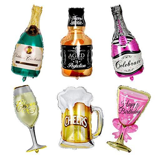 Globos de Helio, WolinTek 6 Pcs Globos de Papel de Aluminio, Inflado Gigante Globo de la Hoja Botella de Vino Inflado Gigante para Decoración de la Fiesta de Bodas de Cumpleaños Vacaciones