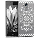kwmobile Huawei Honor 6C Hülle - Handyhülle für Huawei Honor 6C - Handy Case in Aztec Sonnenblume Design Weiß Transparent