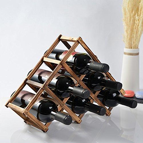 XAGB Encimera del Estante del Vino de 6 Botellas, Estante de Madera Natural de Pino para el Estante Libre de la Botella del triángulo de la despensa, Color de Natrual, 45 × 12 × 31cm (Color : A)