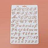 2 tipos de plantillas de letras con números de alfabeto, 27,5 x 19 cm, molde para pintar, álbumes...