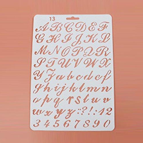 Plantillas de letras reutilizables con diseño de alfabeto para pintar, álbumes de recortes y manualidades de tarjetas (A) 27.5cm x 19cm Type1