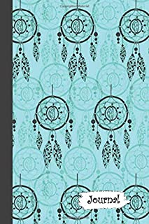 Journal: Teal Gray Blue Dream Catcher Diary with Blank Lined Notebook Paper