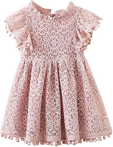 2Bunnies Girl Vintage Lace Pom Pom Trim Birthday Party Dress (Dusty Pink, 3T)